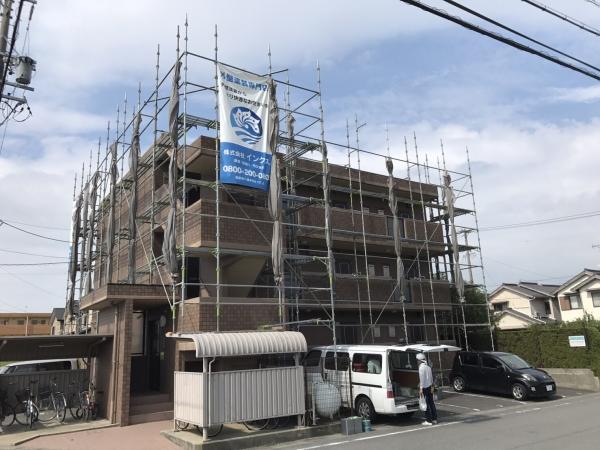 美浜町 Dマンション様 外壁塗装、屋上防水 着工しました。 (1)