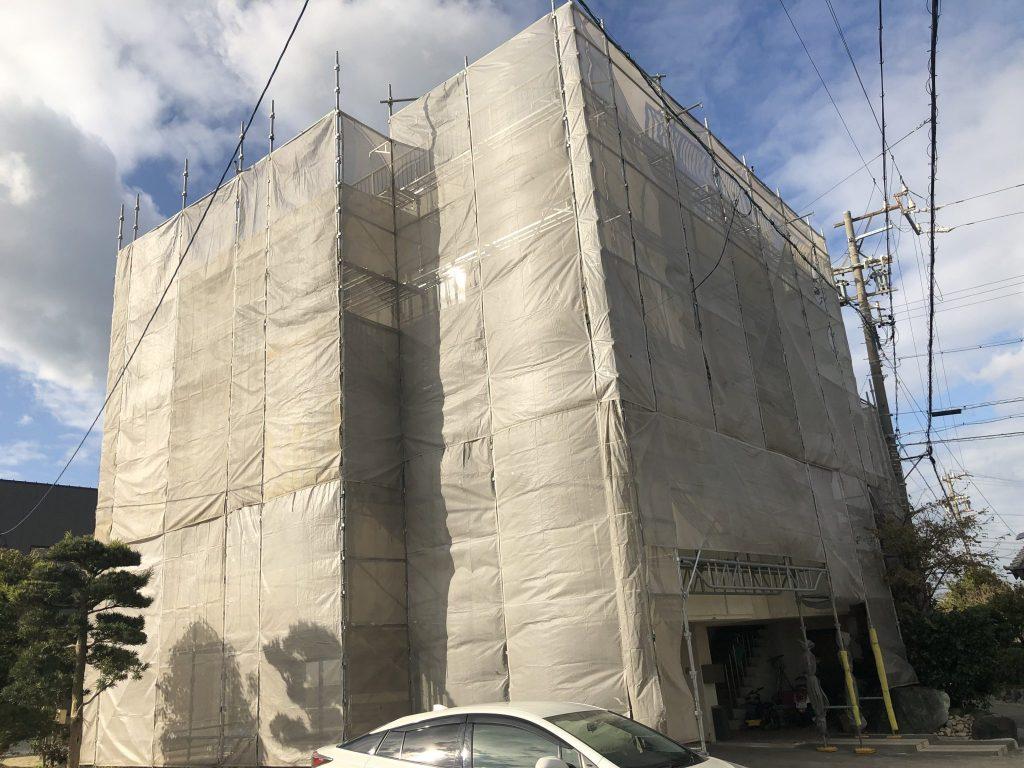 美浜町奥田 I様邸  外壁塗装・屋上防水工事 着工 (1)